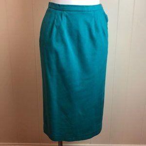 Vintage 80s/90s Teal Microsuede Pencil Skirt